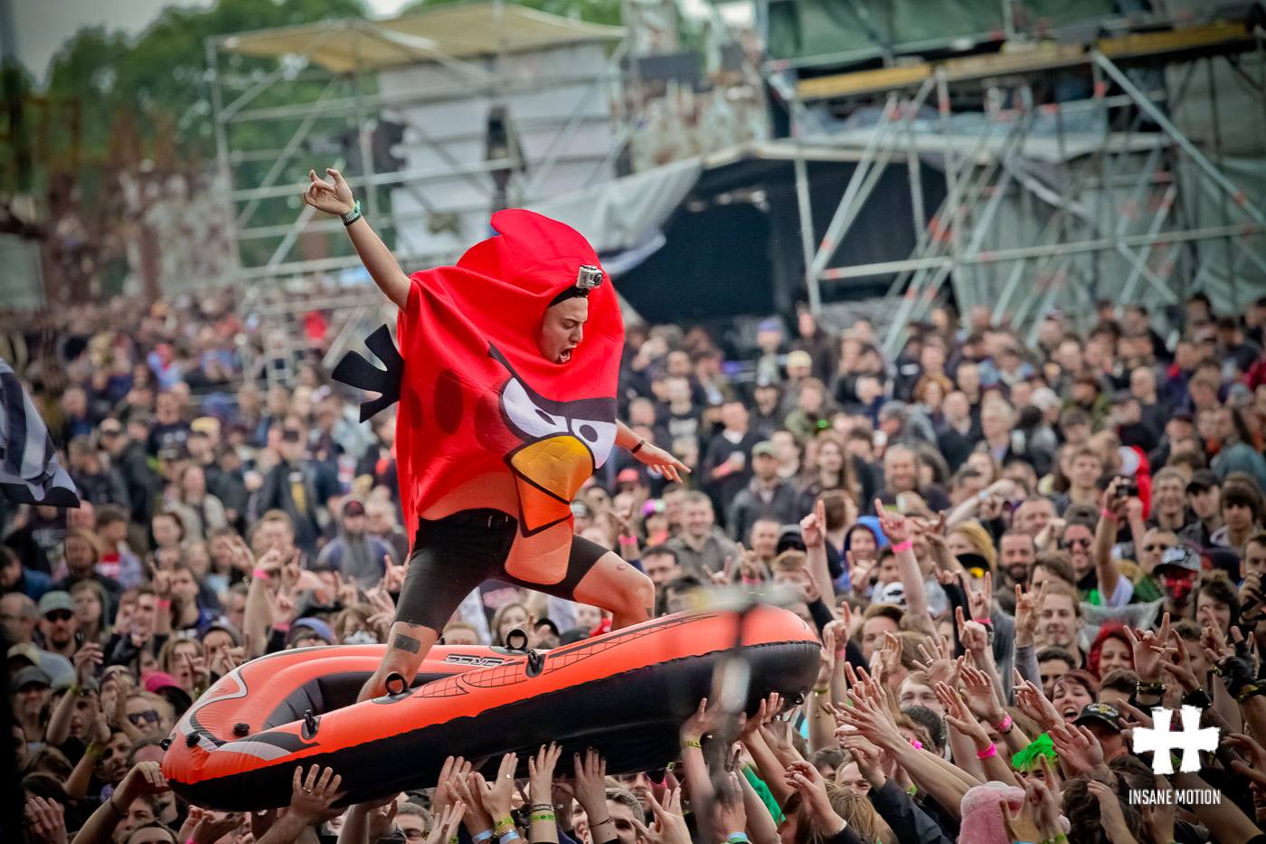 Adam Elmakias crowd surf Angry Bird at Hell Fest in Clisson France