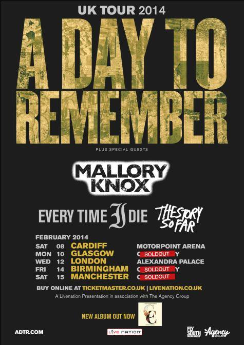 UK Tour 2014. A Day To Remember. Photographs by Adam Elmakias